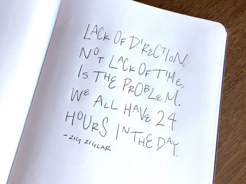Lack of Direction Not Lack of Time is the Problem We All Have 24 Hours in the Day Zig Ziglar