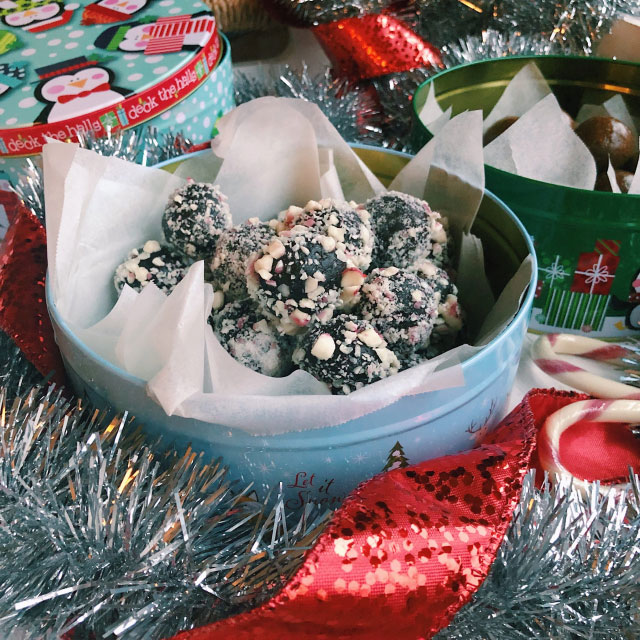 Candy Cane Brownie Batter Energy Balls Bowl