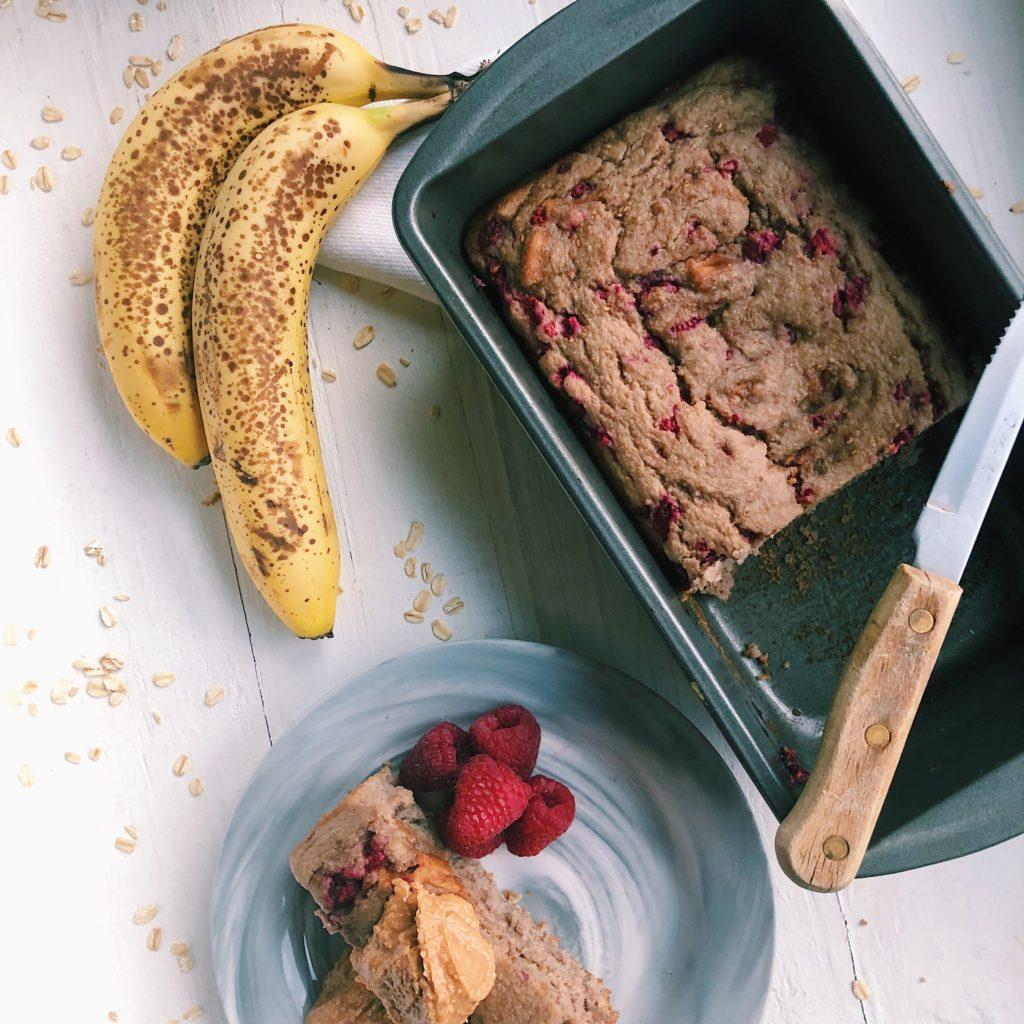 Slice of PB&J banana bread