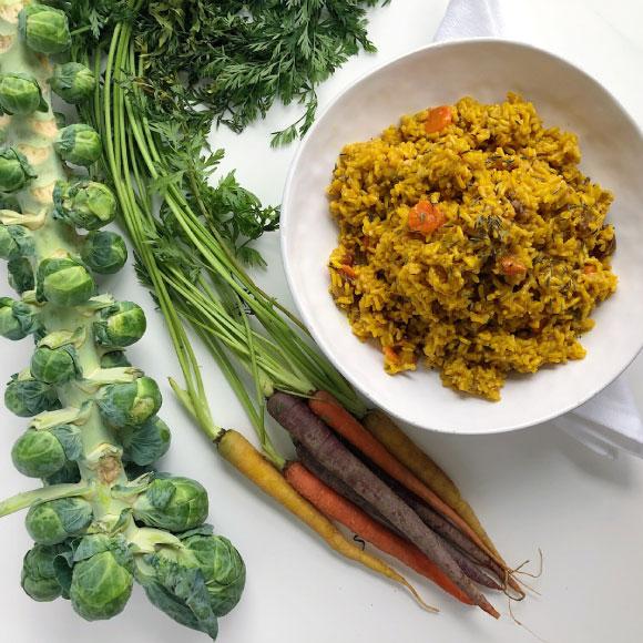 Turmeric Veggie Brown Rice Pilaf