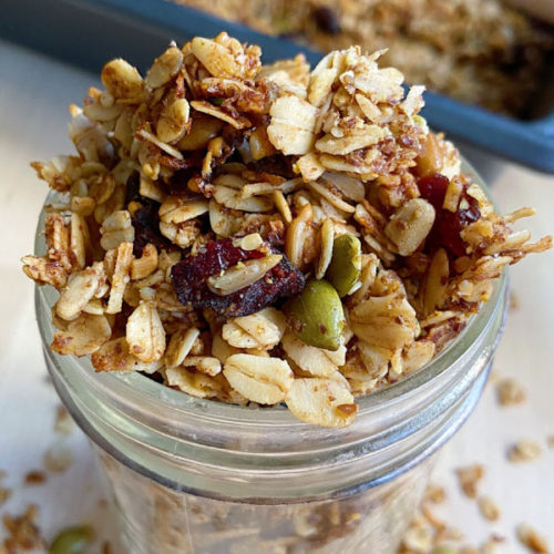 Jar of The Easiest Homemade Granola Recipe