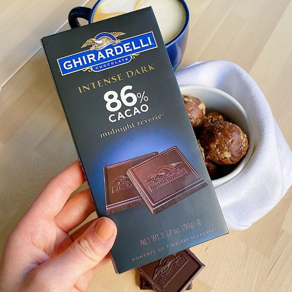 Ghiradelli 86% Dark Chocolate Close Up
