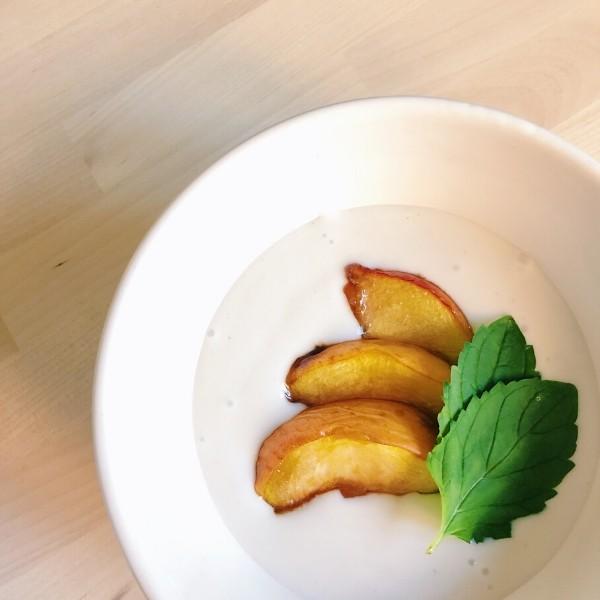 Yogurt with Honey Roasted Balsamic Peaches