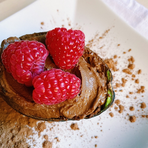 Sugar-Free Chocolate Avocado Mousse with Raspberries