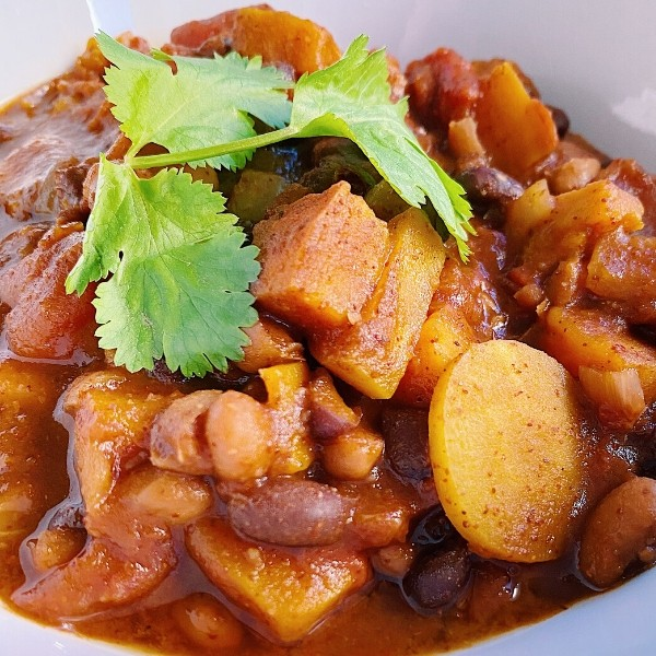 Sweet and Spicy Sweet Potato Chili Close Up