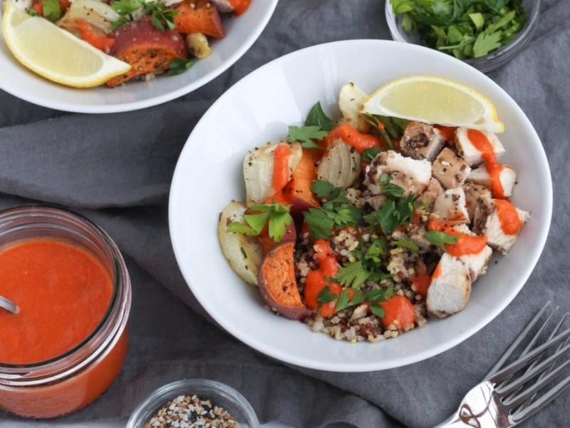 Winter Grain Bowls with Fire Roasted Tomato Vinaigrette