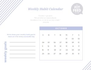Habit Calendar October 2020