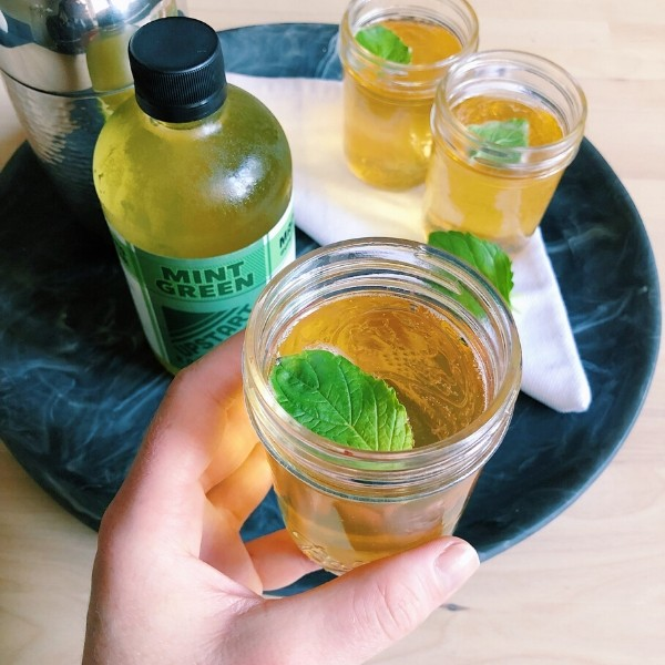 Glass of Mint Green Kombucha Julep