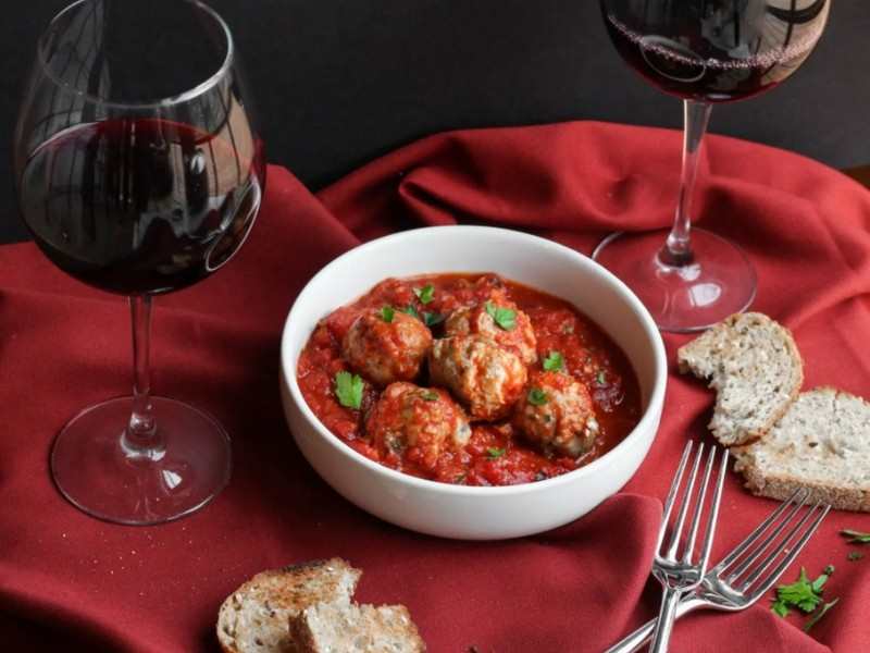 Turkey & Goat Cheese Meatballs with Roasted Tomato Marinara