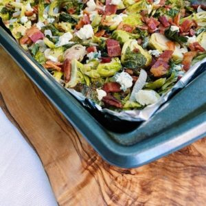Bacon & Blue Cheese Brussel Sprouts in a Pan