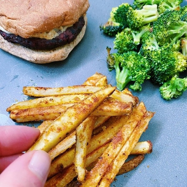 Burger, Broccoli and Garlic Home Fries