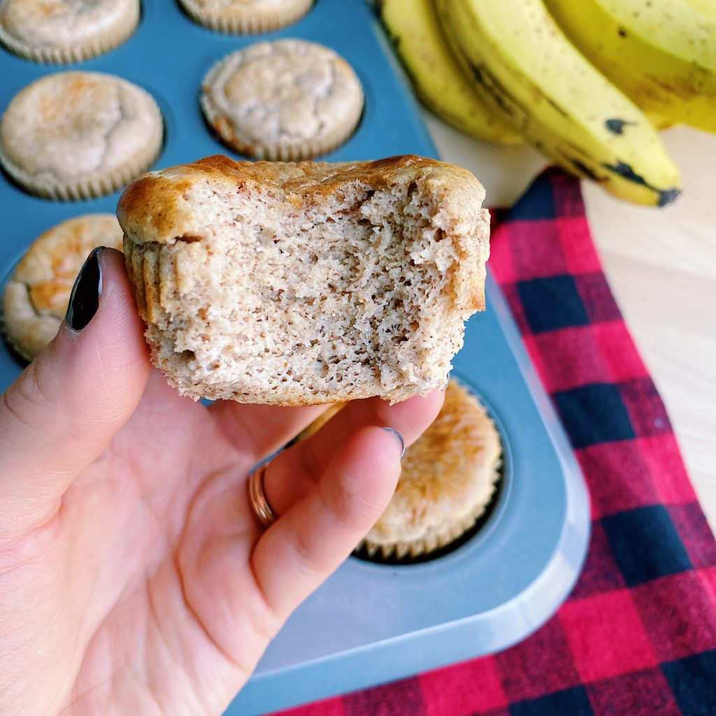 Bite of Almond Butter Banana Muffin