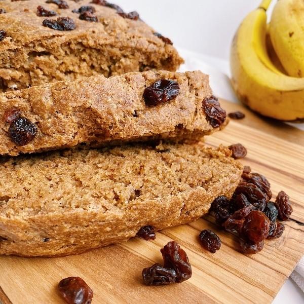 Close up of cinnamon raisin banana bread