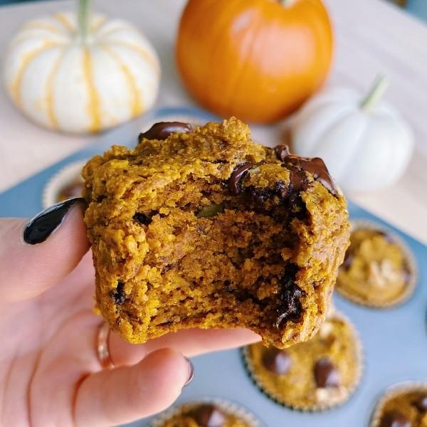 Big bite of pumpkin muffin