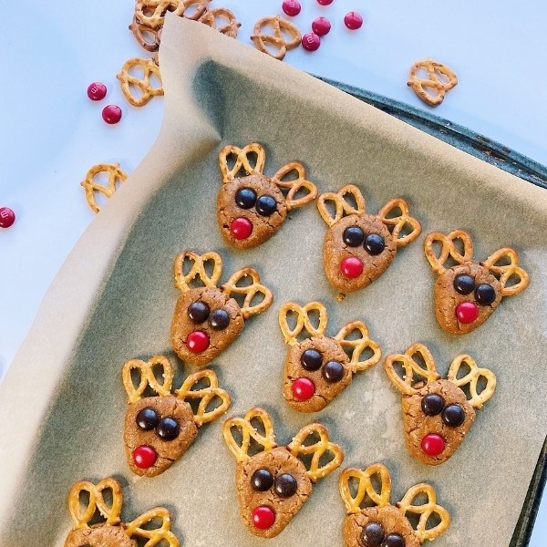 sheet of reindeer cookies