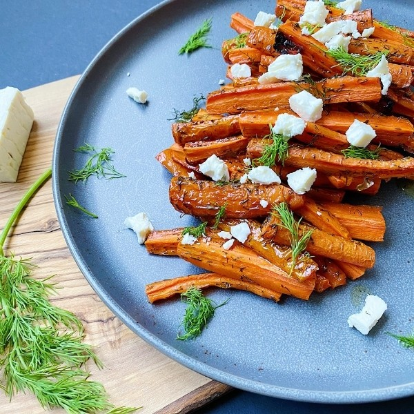 Plate of Roasted Carrots with Dill