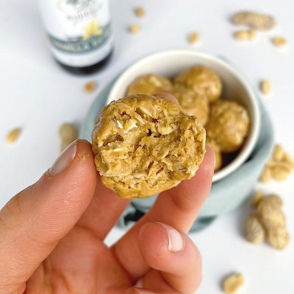 Bite of a peanut butter ball