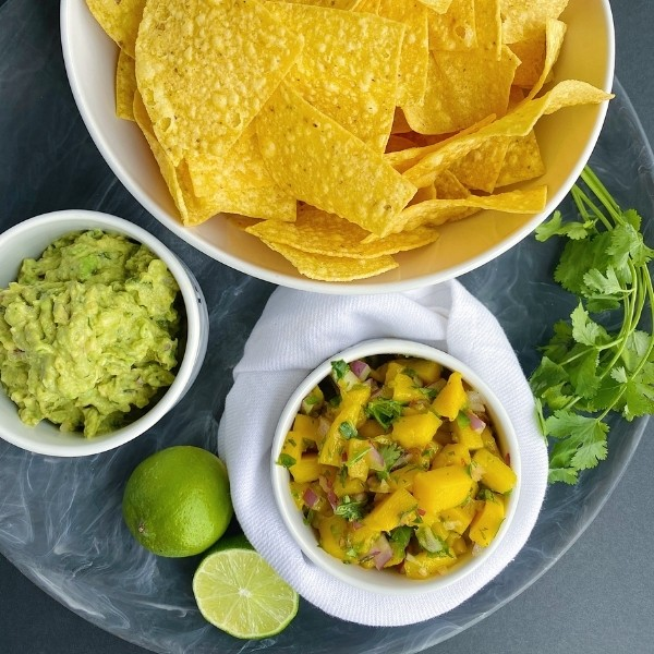 mango salsa and guacamole