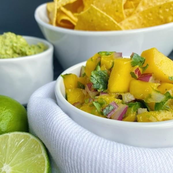 bowl of simple mango salsa